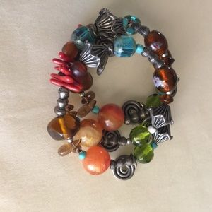 Bracelet Multi Color Stones and Silver Charms